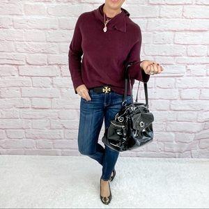 Ann Taylor Aubergine Cowl Neck Sweater - Small
